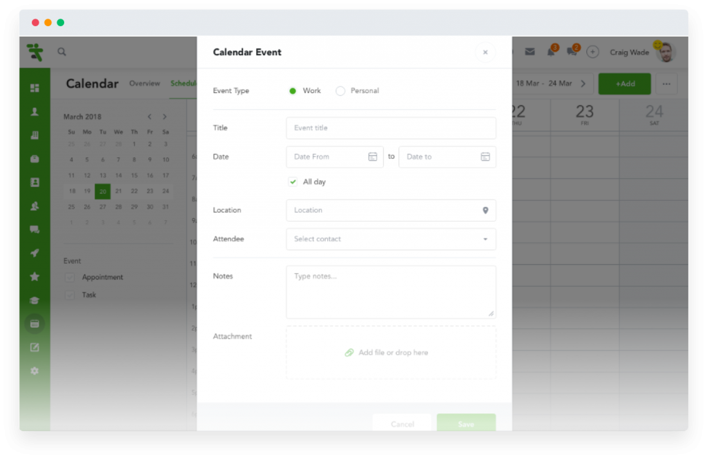 Easily create calendar events and appointments on Coach's Companion